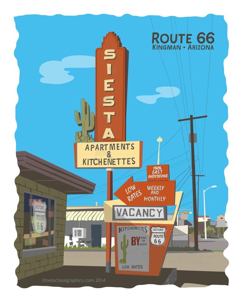 01-Route 66 Art-Siesta Apts-w Rt66-16x20-v18