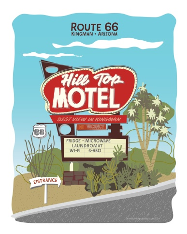 02-Route 66 Art-Hilltop-Yucca-Oco-w Rt66-16x20-v7
