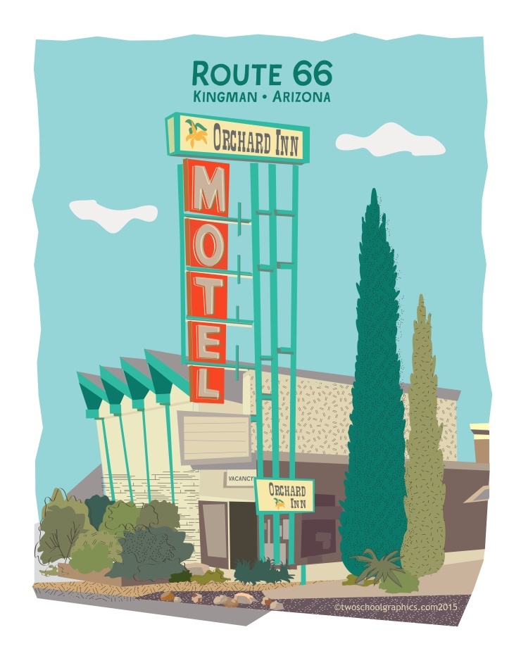 06-Route 66 Art-Orchard Inn-w Rt66-16x20-v13