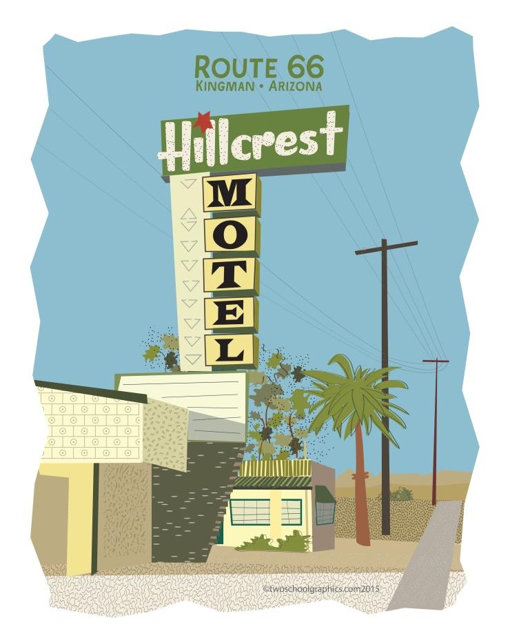 07-Route 66 Art-HillCrest Motel-w Rt66-16x20-v11